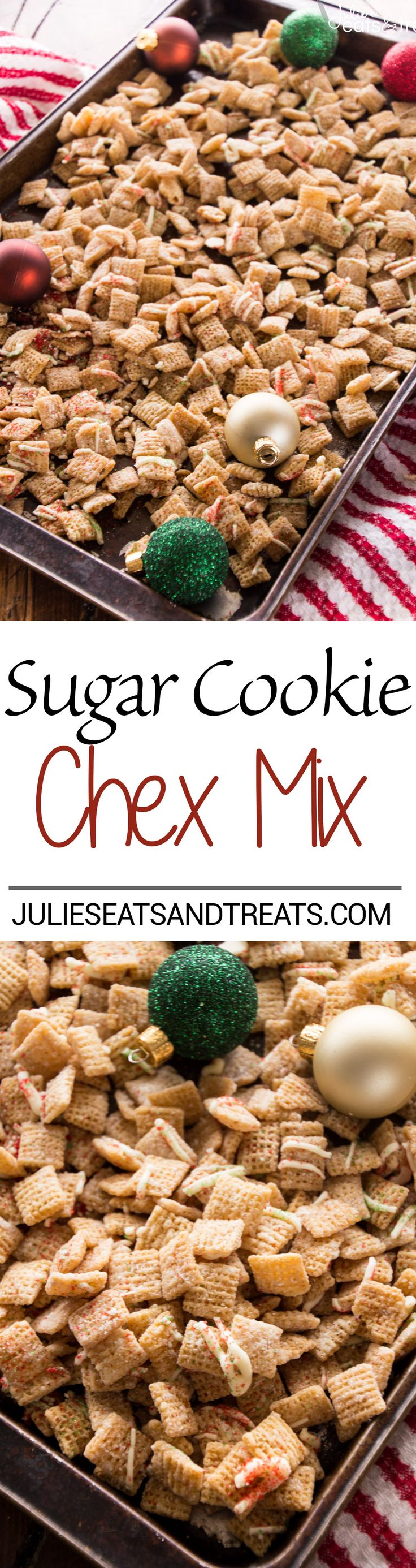 Sugar Cookie Chex Mix Recipe ~ Celebrate the Holidays with this Fast and Easy Snack Mix Recipe that tastes just like Sugar Cookies! on MyRecipeMagic.com