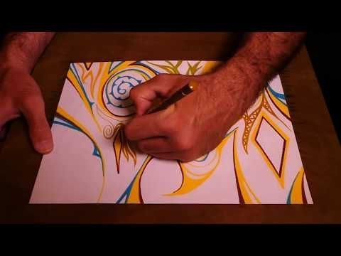 Lernen Sie, abstrakte Malerei intuitiv mit bunten Stiften zu malen – YouTube