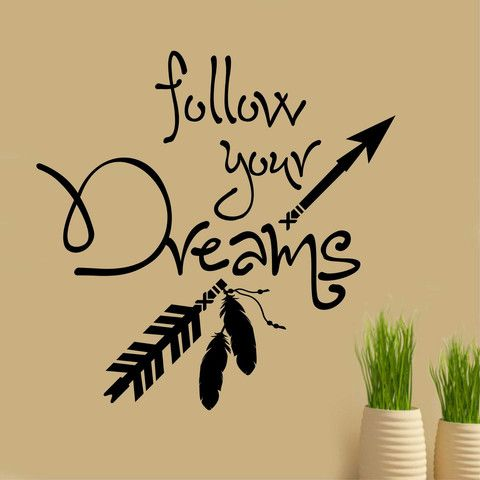 Follow your Dreams Vinyl Wall Lettering Wall Quotes Arrow Feathers Vinyl Decal