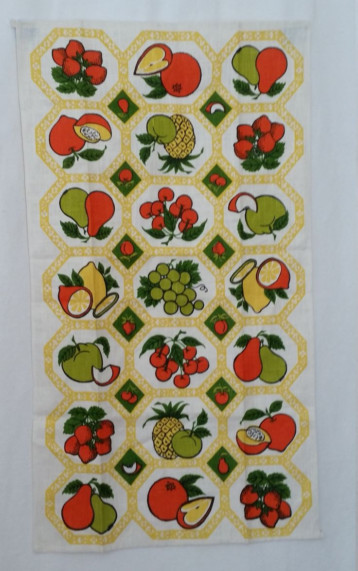 Vintage Dishtowel 1970s Linen Kitchen Towel Fruits Design Mediterranean Style…