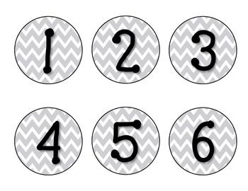 *FREE* GRAY CHEVRON CLASSROOM NUMBERS - perfect for OPSEC on the coat racks FREETeachersPayTeachers.com