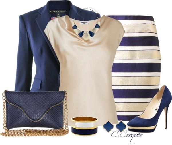 """Navy Stripes"" by ccroquer ❤ liked on Polyvore"