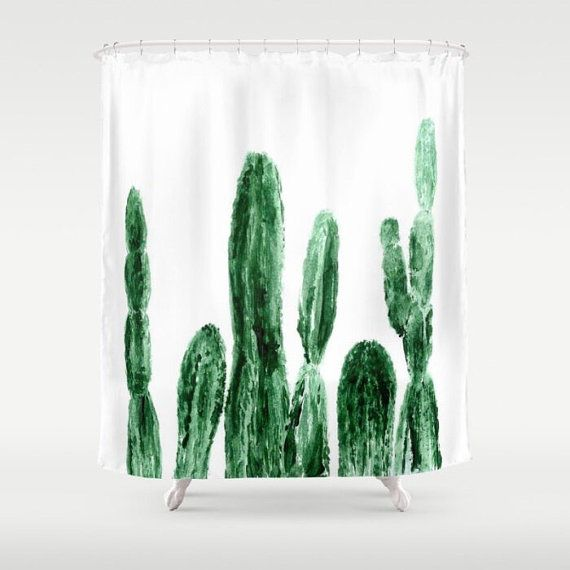 Cactus Shower Curtain, cactus shower, cactus curtain, white shower curtain, plant shower curtain, modern shower, modern curtain