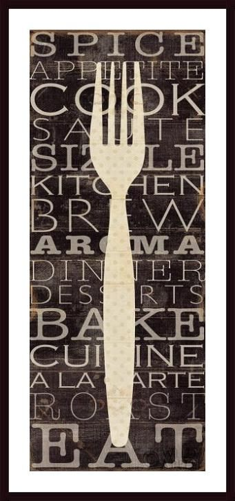 Black White Kitchen Words I By Pela Studio Fork Sign Wall Art Print Framed  Décor