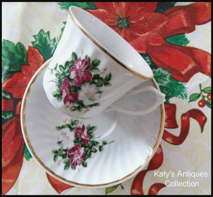 Vintage Porcelain Cup and Saucer, unmarked,  Floral Shabby  Chic.