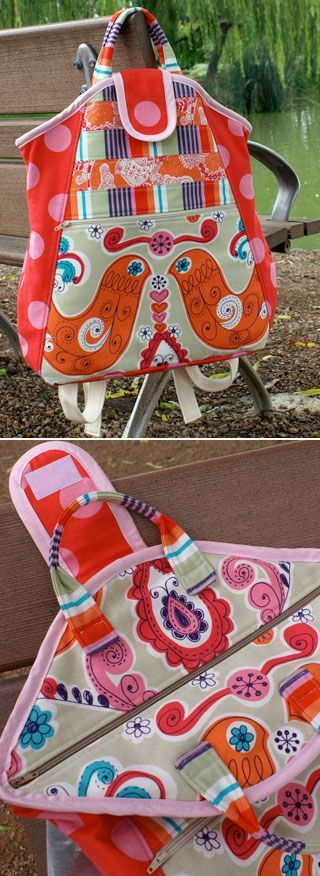 melly & me backpack pattern at pink chalk Like the hidden zip and handles