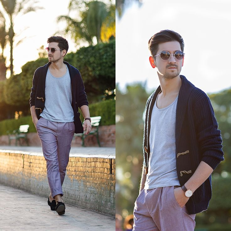 Blog post: http://themysteriousgirl.ro/2015/11/koutoubia-sunset/ Instagram: https://www.instagram.com/adriansunriseinc/ purple pants topman asos grey t-shirt alcott navy cardigan daniel wellington black watch zerouv sunglasses black asos loafers
