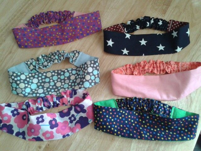 Reversible hair bands for the school fete.