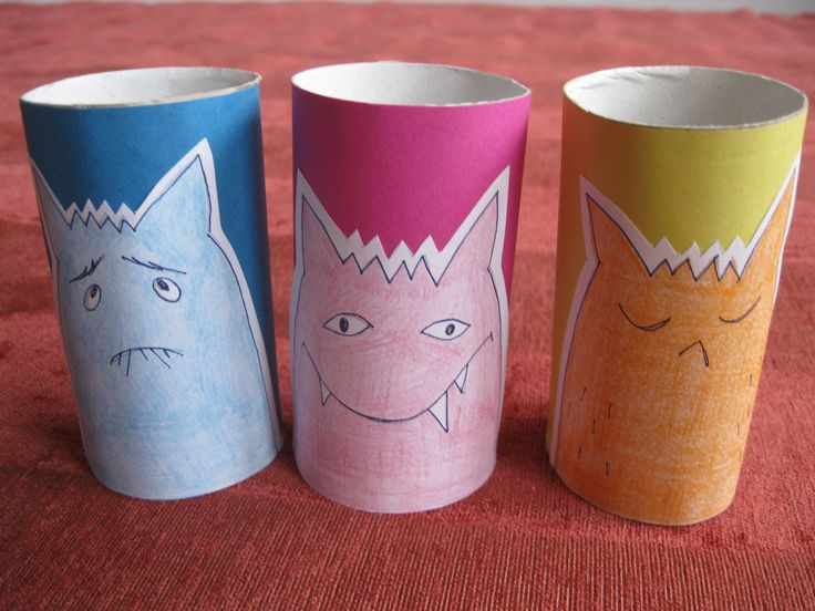 toilet paper roll emoticon monsters