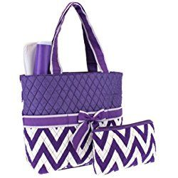 Quilted Chevron Diaper Bag Purple