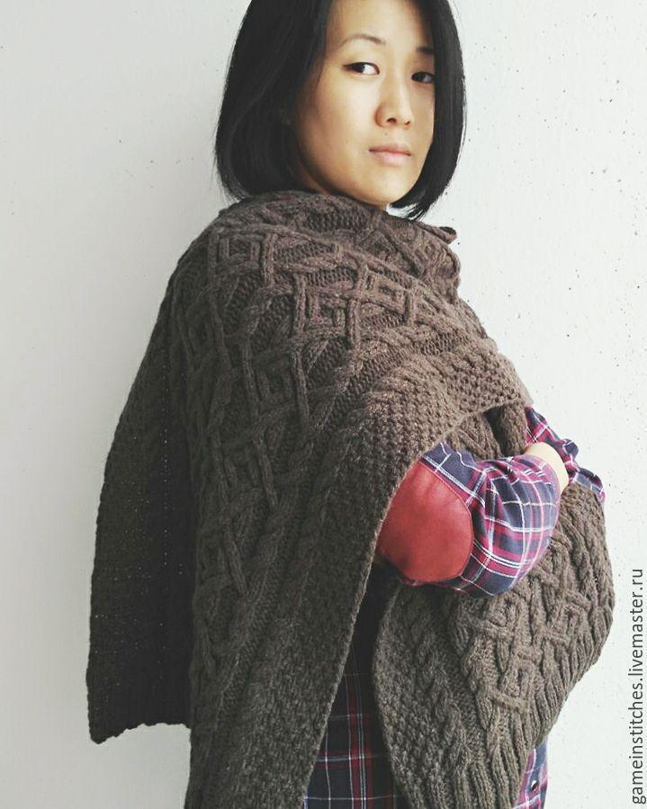 Купить Шарф Таинственный лес - коричневый, шарф, вязаный шарф, шарф спицами, шарф с аранами