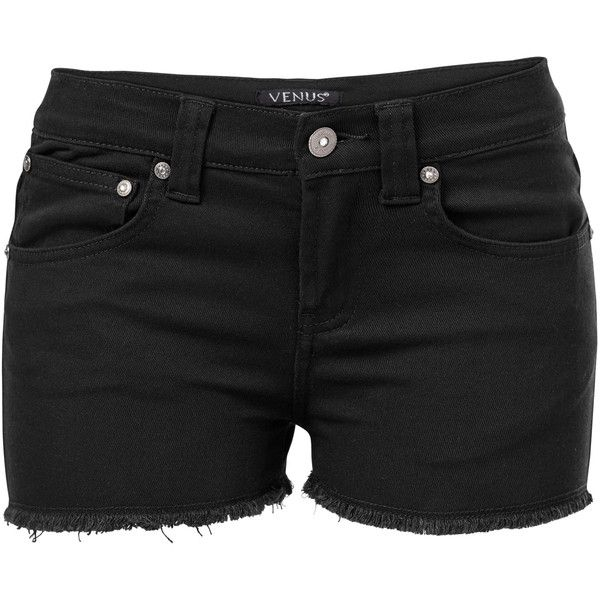 Venus Women's Plus Size Cut Off Jean Shorts ($23) ❤ liked on Polyvore featuring shorts, black, cutoff denim shorts, cut-off shorts, cutoff jean shorts, short jean shorts and cutoff shorts