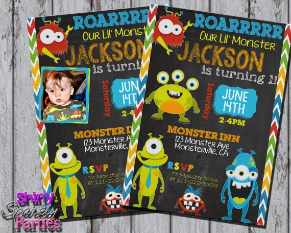 Printable MONSTER BIRTHDAY INVITATION - Little Monster Invitation - Monster Party Invite - Little Monster Invite - First Birthday Invitation