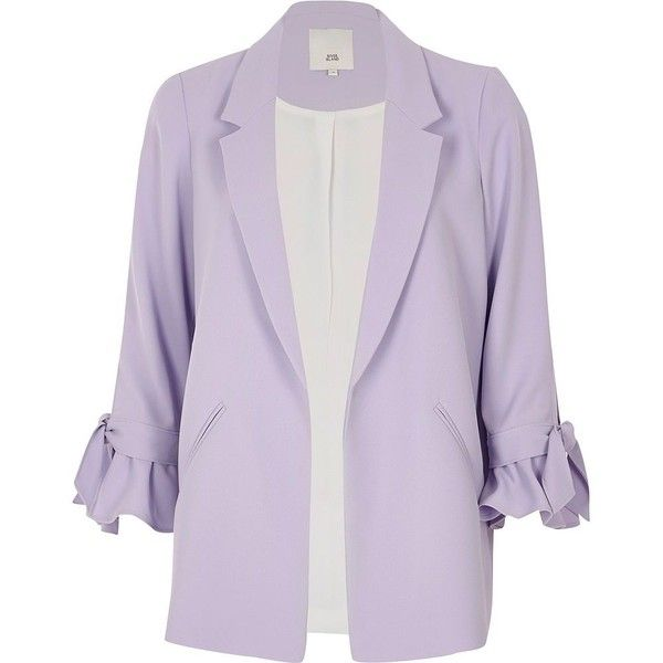 River Island Light purple frill cuff blazer (€100) ❤ liked on Polyvore featuring outerwear, jackets, blazers, coats / jackets, purple, women, ruffle blazer jacket, 3/4 sleeve jacket, ruffle jacket and purple jacket