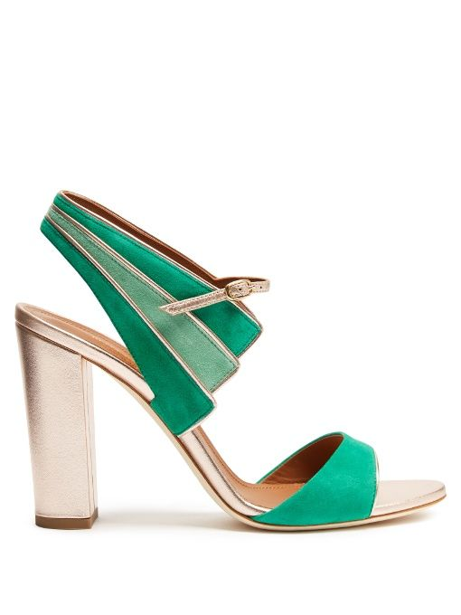 MALONE SOULIERS Careen suede block-heel sandals. #malonesouliers #shoes #sandals