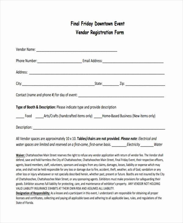 Vendor Application Form Template Unique 7 Event Registration Form