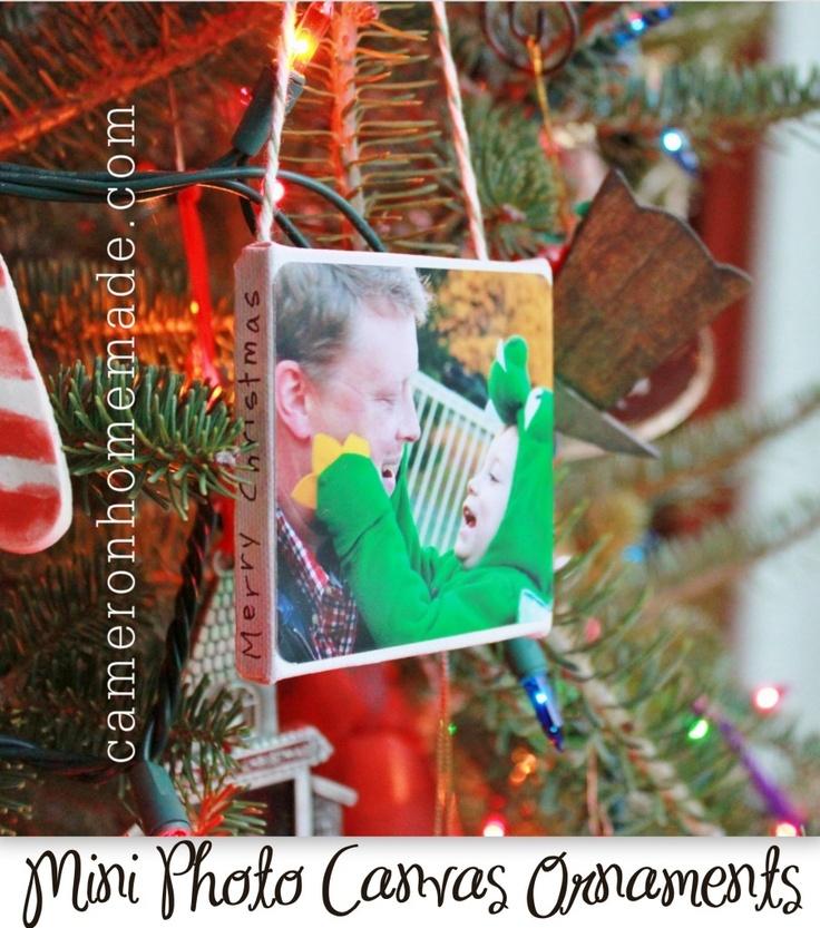 mini photo canvas ornaments by cameronhandmade.com via Stephanie   Lynn from bystephanielynn.com: Diy Photo, Gifts Ideas, Photo Ornaments, Photo Canvas, Canvas Ornaments, Canvas Photo, Christmas Ornaments, Last Minute, Minis Canvas