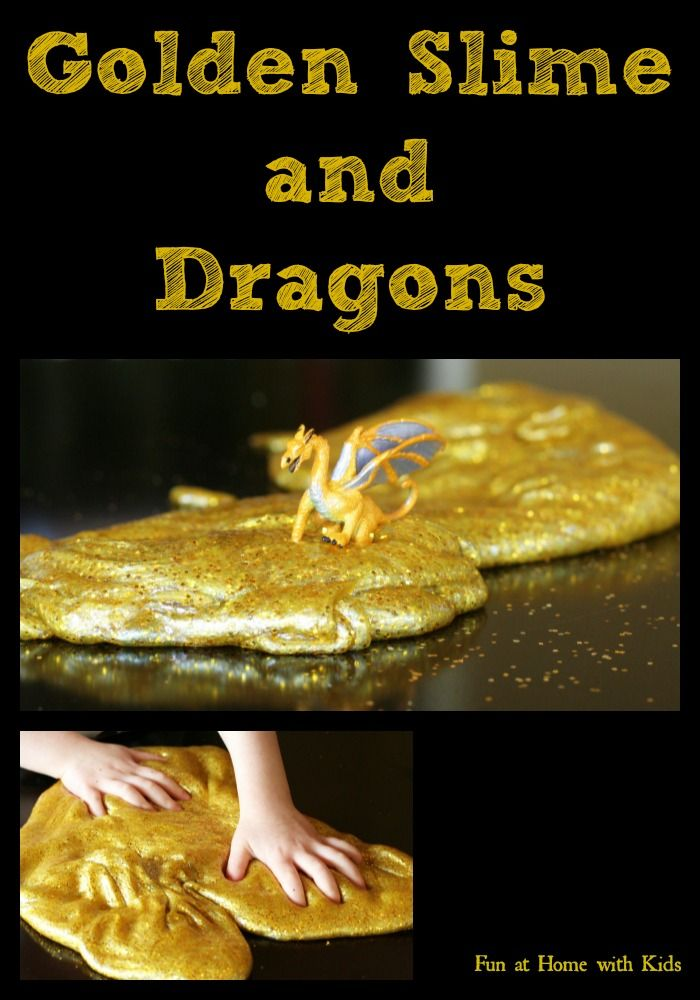 Golden Slime and Dragons [Borax Free Recipe!] FUN AT HOME WITH KIDS