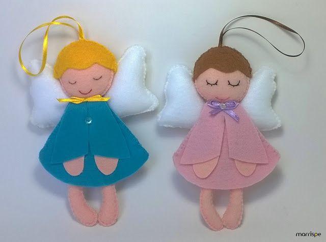 Anjinhos em feltro #artesanato #decoração #feltro #molde #anjo #anjinho #infantil #costura #enfeite #artesanatocriativo #dica #ideia #marrispe