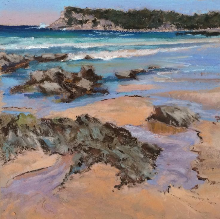 "Pastel seascape painting "" Beach Rocks"" by Amanda McLean"