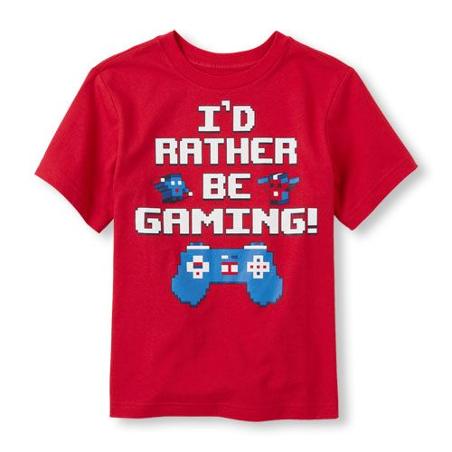 s Boys Short Sleeve 'I'd Rather Be Gaming!' Graphic Tee - Red T-Shirt - The Children's Place