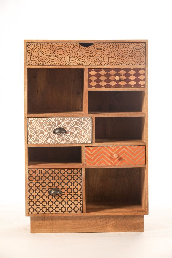 Design convenient printed wood 5 drawers by sweetmangofrance