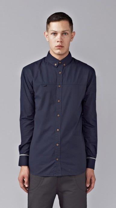 Plain Navy Long Sleeve Shirt