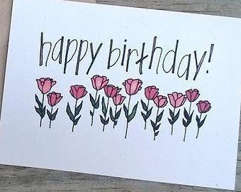 Hand entworfen Color Geburtstagskarte, Geburtstagskarte von Hand gezeichneten Blume – sarah