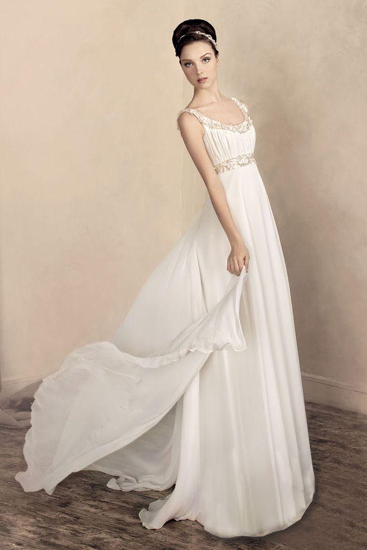 ランディブライダル ウェディングドレス エンパイア ビーズ シフォン ラウンドネック ビーズベルト 二次会ドレス アイボリー オーダードレス B14P2A015