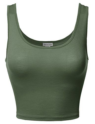 5c41661a833e9e Made by Emma Junior Sized Basic Solid Sleeveless Crop Tank Top Olive ...