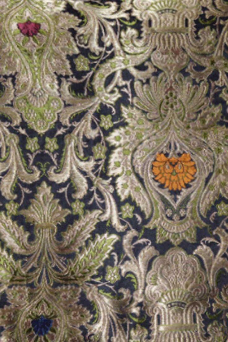 Midnight Blue Benarasi Silk Embroidered Fabric