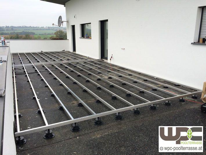Turbo Pin auf WPC Terrassendielen Unterkonstruktion Alu Stelzlager GV18