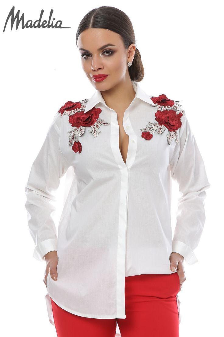 Camasa cu aplicatii trandafiri   Madelia Fashion - Magazin online haine și rochii de damă