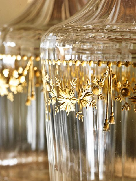 Elegant glass decanters etched in Gold {by J and L Lobmeyr  1870} Cute filled with Sweet Tea