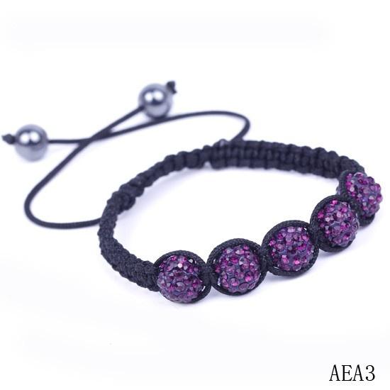$2.19  Purple Rhinestone Crystal Clay Disco Balls Beads Charms Bracelet Adjustable #Eozy