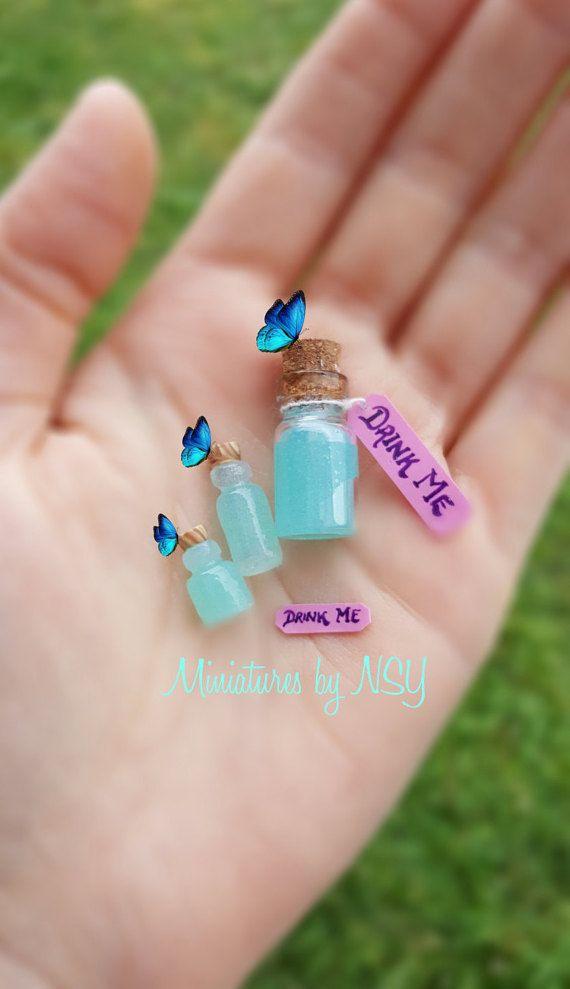 Alice in wonderland drink me bottle dollhouse miniature