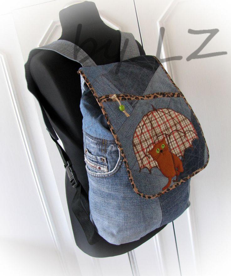 jean backpack, denim backpack, cat backpack,recycled jeans,rucksack,jeans backpack by klaptykart on Etsy https://www.etsy.com/listing/245805112/jean-backpack-denim-backpack-cat