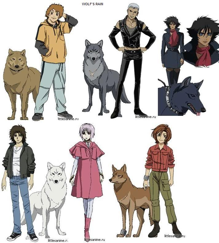 Wolf's Rain, Top Left: Hige, Tsume, Blu. Bottom Left: Kiba, Cheza, Toboe :D Kiba always had my heart but I cried for them all