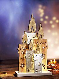 Stimmungsvolle Leuchtdeko aus Holz im kunstvollen Kerzen-Design