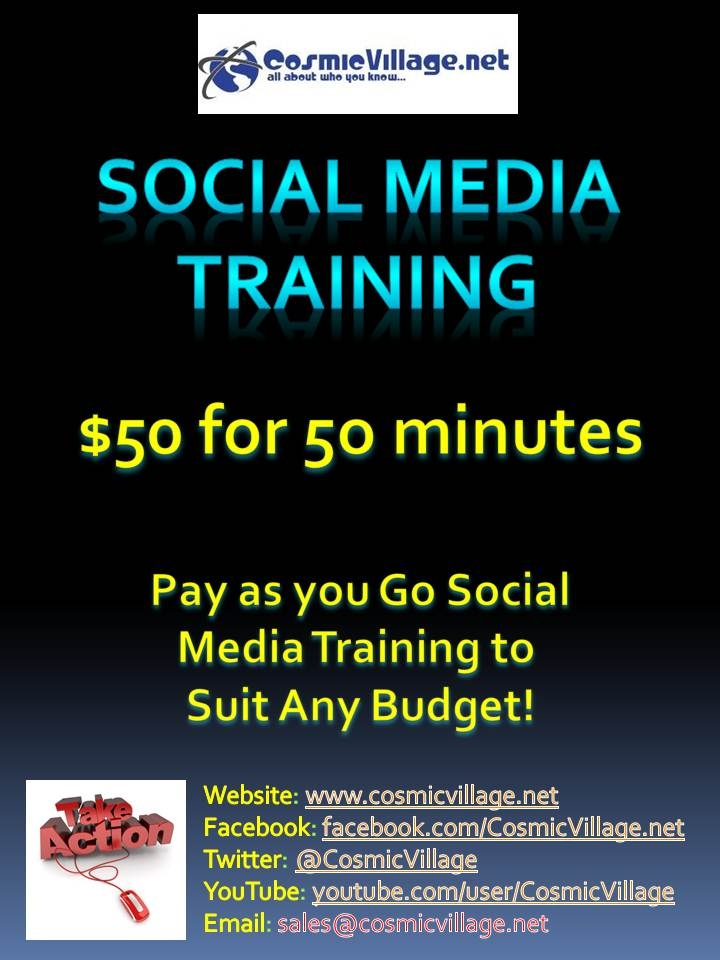 Social Media Training - Our Social Media Training classes are built to allow you to Pay As You Go with your learning. This means you can tailor your learning at your own speed / budget / requirements. For only $50 for 50 minutes per class, we can surely help you, your team and your business upskill into all things Social Media. See More: http://bit.ly/zdyn7s