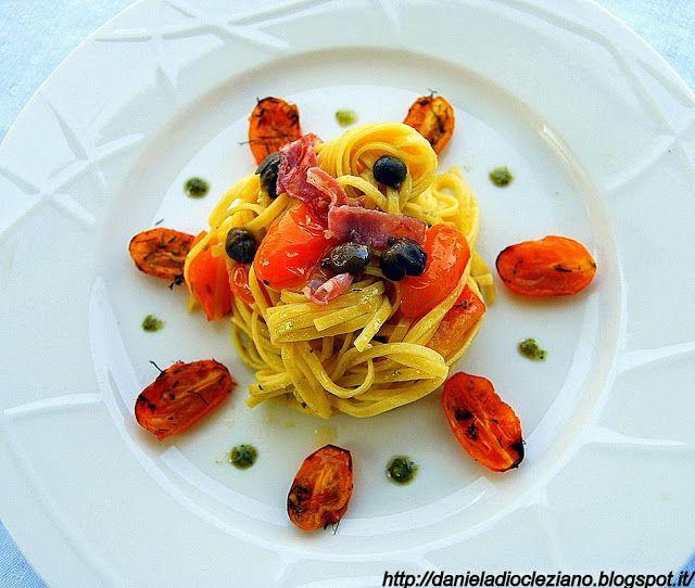 Daniela&Diocleziano: Linguine con pomodori datterini gialli, capperi e coppa piacentina DOP