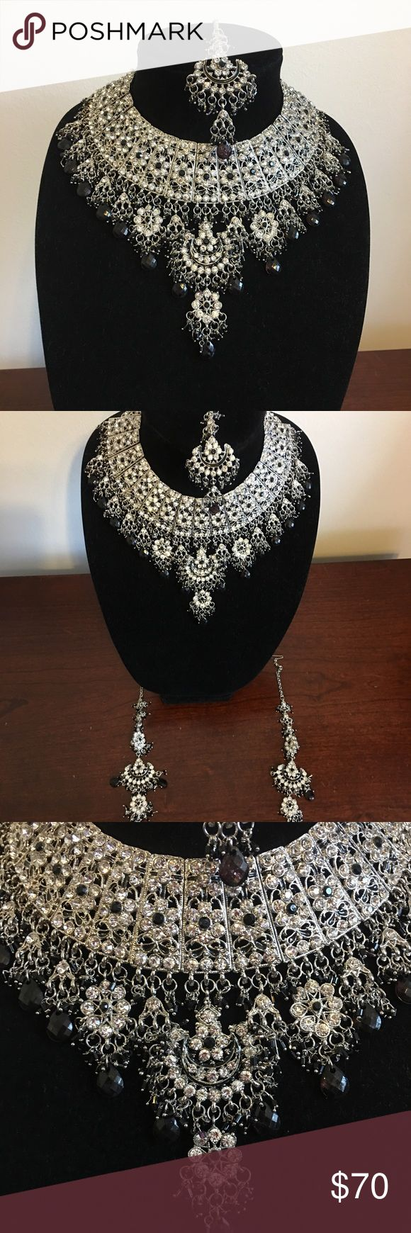 Indian/Pakistani Jewelry Brand New Bollywood Inspired Jewelry Set-  Necklace, earrings, and a head piece (tikka)   #fashion #indian #pakistani #bollywood #jewelry #necklace #earrings Jewelry Necklaces