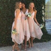Simple Pink A-Line Lace Bridesmaid Dress - V-Neck Sleeveless Asymmetrical