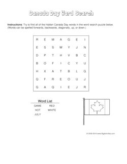 Canada Day word search puzzle with the Canadian flag. 4 levels of difficulty. Word search changes each time you visit