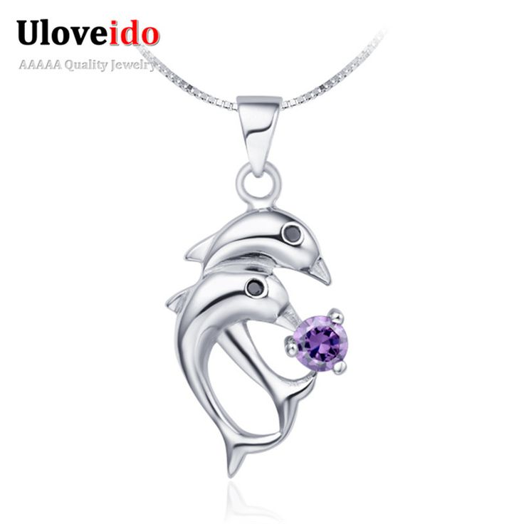 Find More Pendant Necklaces Information about Dolphin Silver Plated Zirconium Pendant Necklace Animal Fashion Necklaces for Women 2016 Purple Crystal Jewelry Gift Ulove N301,High Quality jewelry paper,China jewelry anchor Suppliers, Cheap jewelry tv from Uloveido Official Store on Aliexpress.com