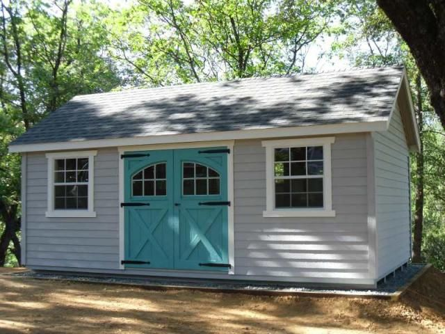 12'x20' Garden Shed with lap siding, carriage house doors, large windows, and custom paint