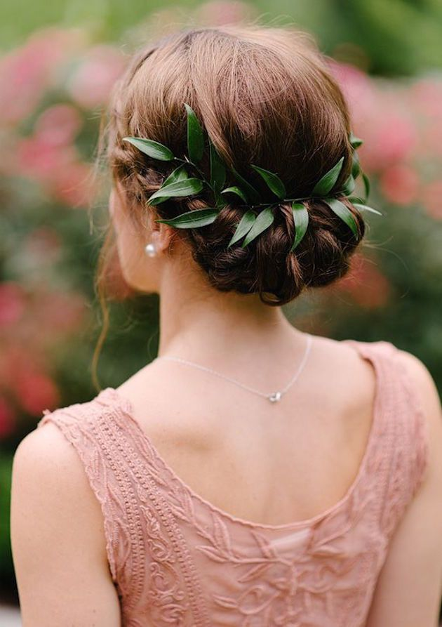 Add a touch of foliage to your hair for the ideal wedding updo.