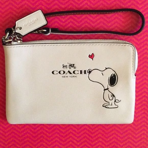 "Coach Snoopy wristlet NWT Be My Valentine, Snoopy! simply adorable cream color corner zip wristlet, silvertone hardware, 6.25x4"", 2 card slots inside. Coach Bags Clutches & Wristlets"