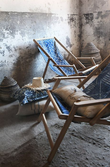 Lots of hats, deckchairs and cushions for lounging in the sun or shade