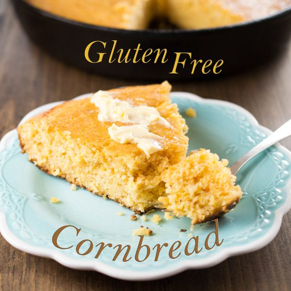This old-fashioned, Gluten Free Skillet Cornbread has delicious crispy edges. It contains, rice flour and cheese; and reminds me of my Southern Grannie's recipe. #GlutenFree #Cornbread #SkilletCornbread #CheddarCornbread #GlutenFreeCornbread